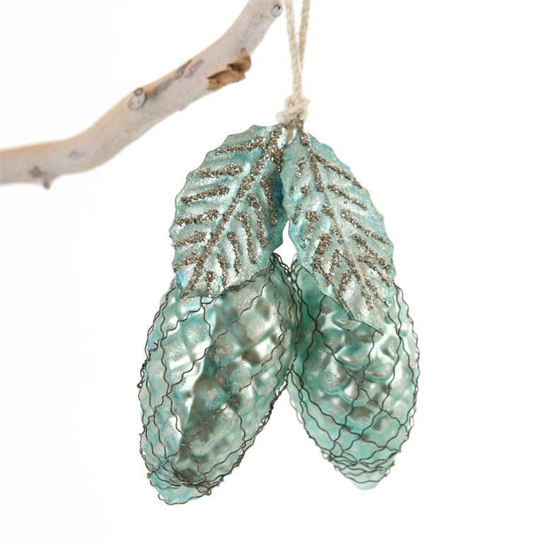 Aqua Glass Pinecones with Leaf