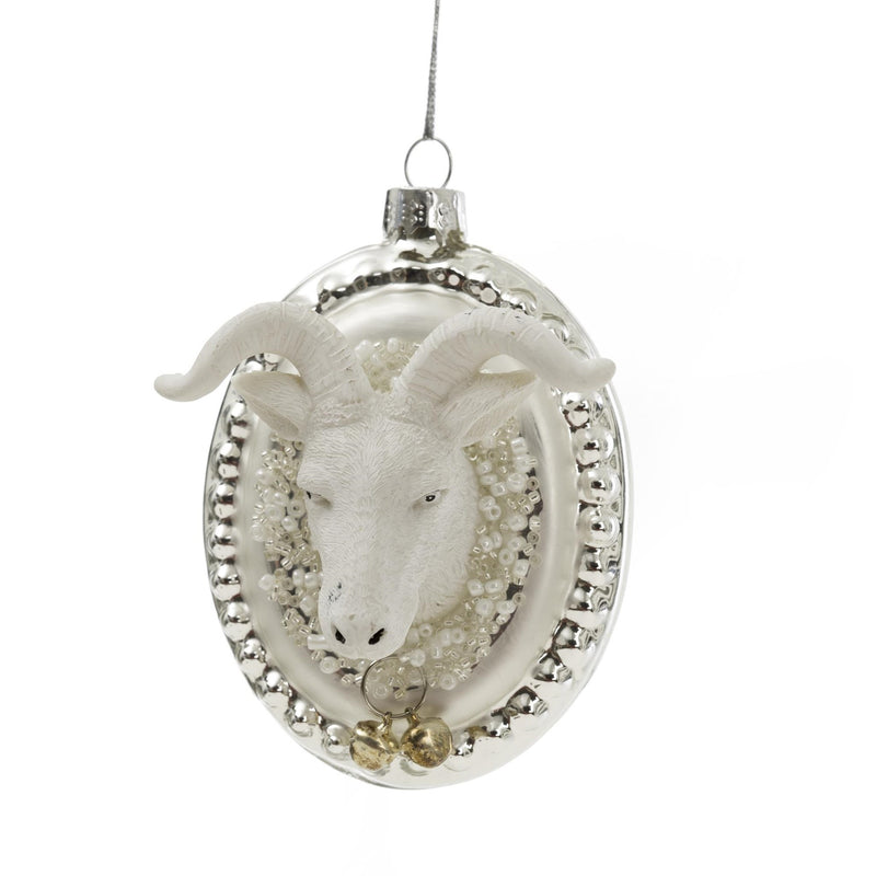 White Goat Head Glass Ornament