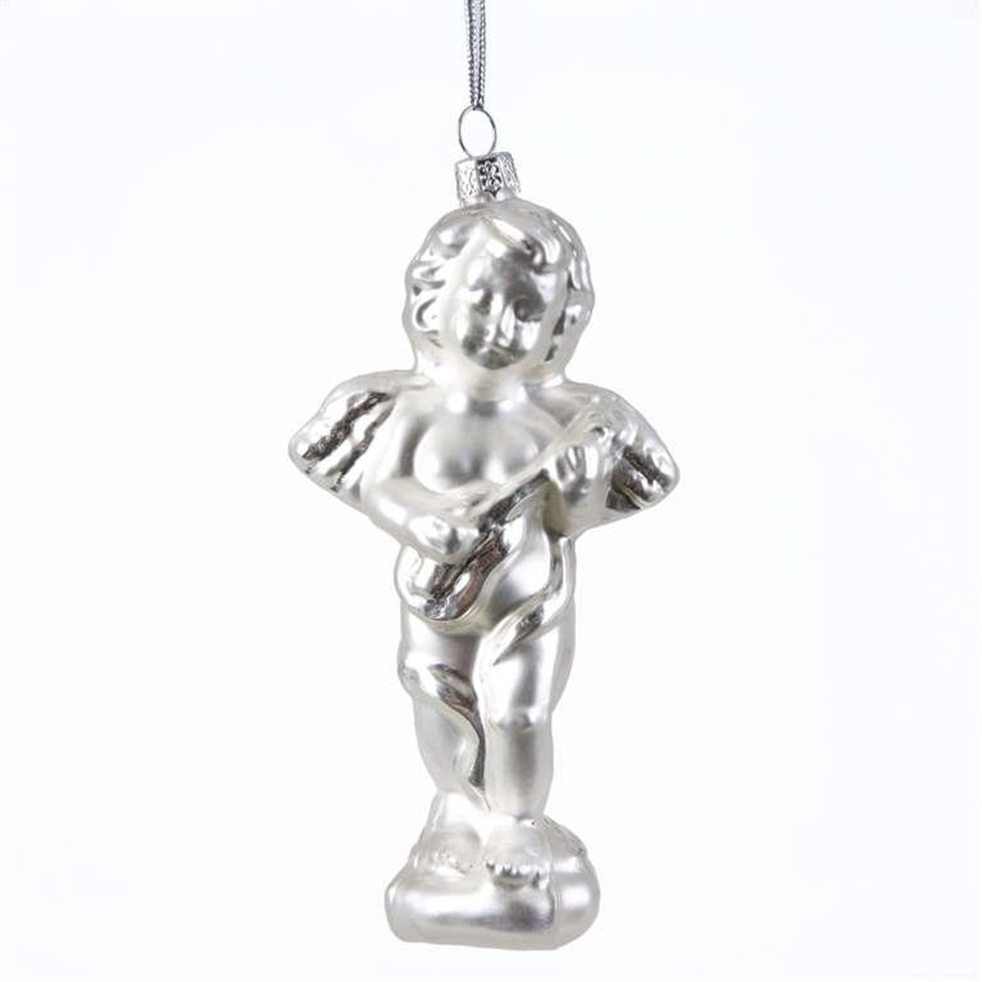 White Glass Cherub Statue Ornament