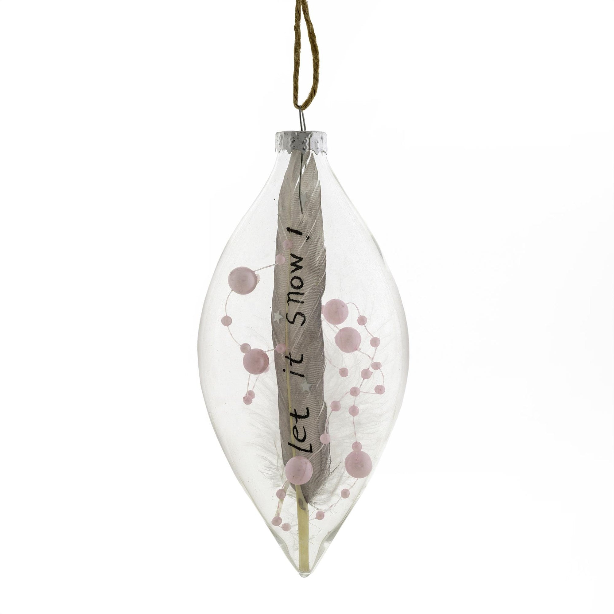 """Let it Snow"" Feather in Glass Ornament, IT-Indaba Trading, Putti Fine Furnishings"
