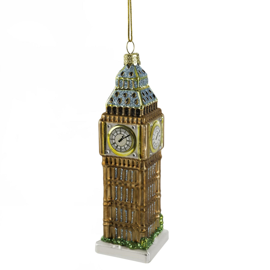 Glittered Big Ben Glass Ornament, IIT-Indaba Trading, Putti Fine Furnishings
