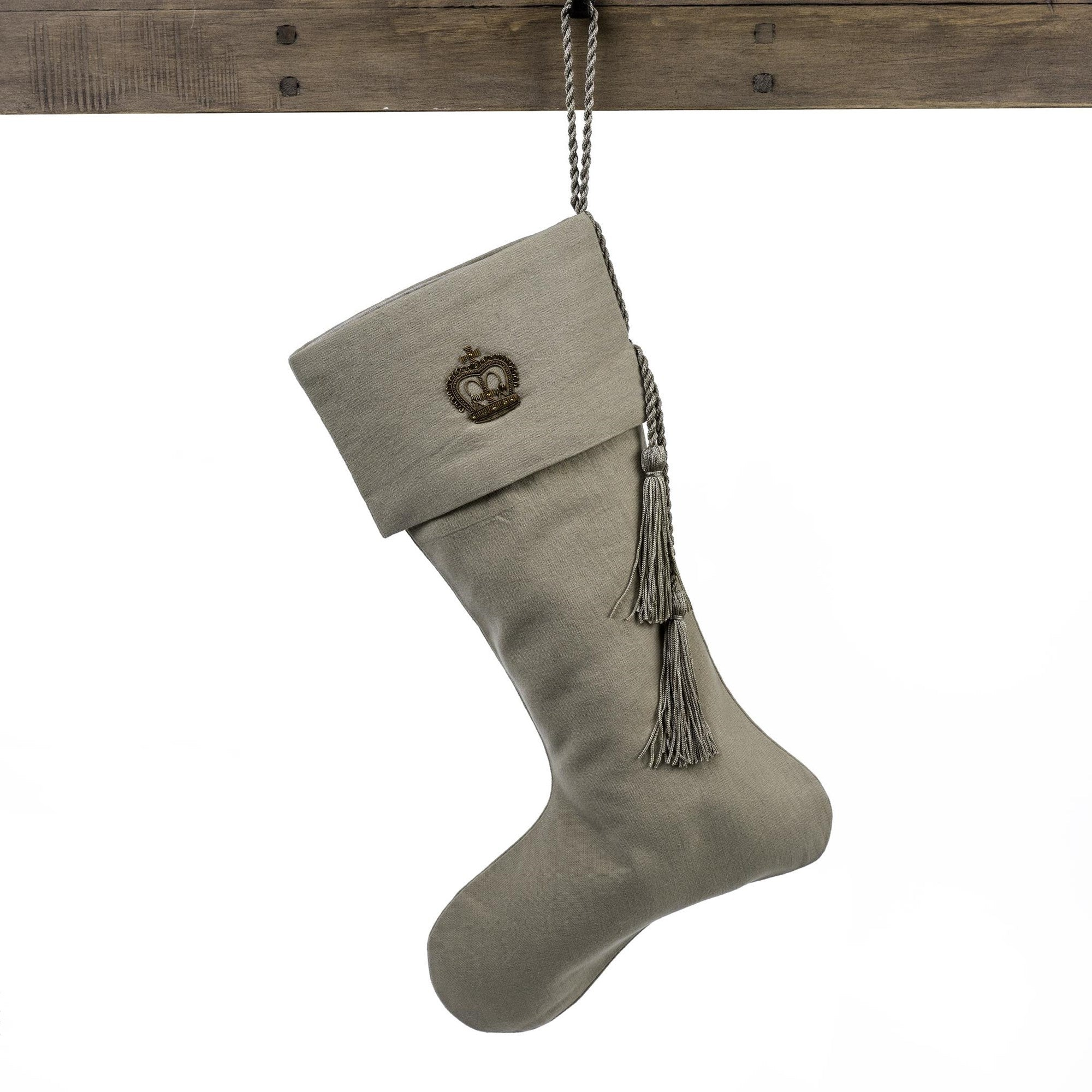 Gilded Queen Crown Linen Stocking, IT-Indaba Trading, Putti Fine Furnishings