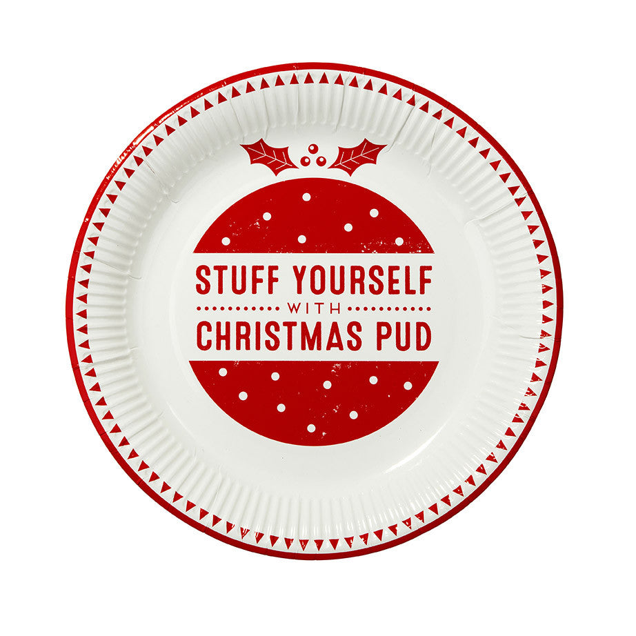 Red & White Christmas Paper Plate-Party Supplies-TT-Talking Tables-Putti Fine Furnishings