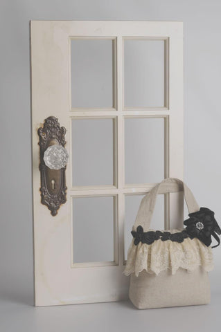 Miss Rose Sister Violet Linen and Black Lace Door Stop -   - Miss Rose Sister Violet - Putti Fine Furnishings Toronto Canada - 1