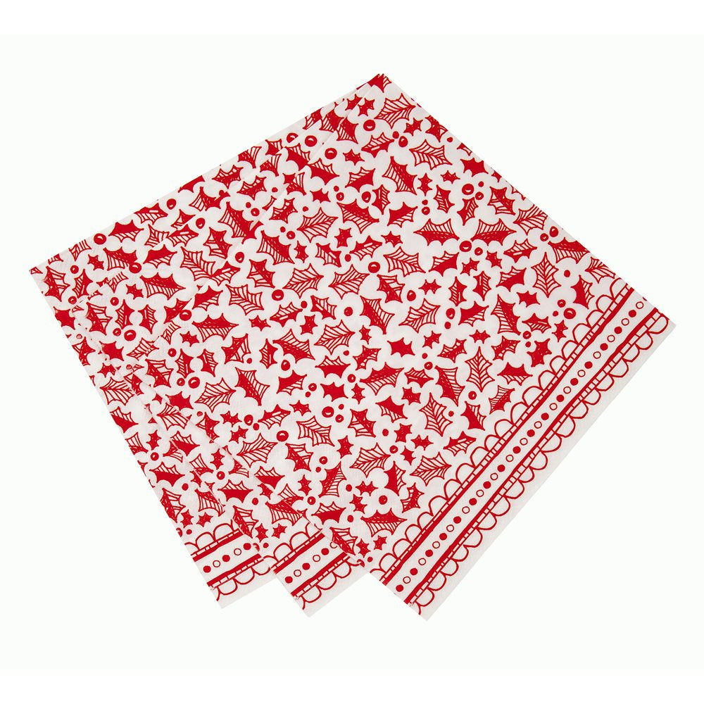 Red & White Christmas Dinner Napkin -  Party Supplies - Talking Tables - Putti Fine Furnishings Toronto Canada - 2