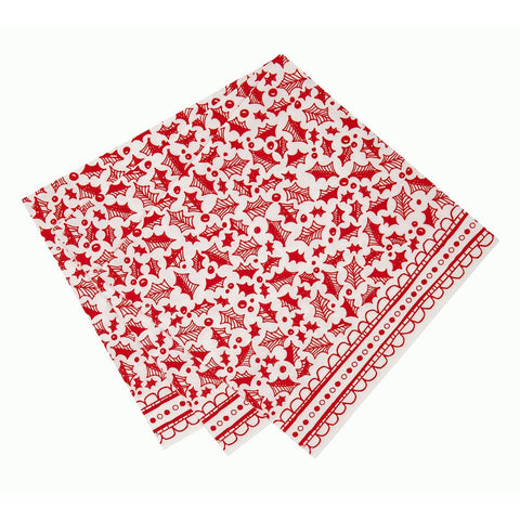 Red & White Christmas Dinner Napkin -  Party Supplies - Talking Tables - Putti Fine Furnishings Toronto Canada - 1
