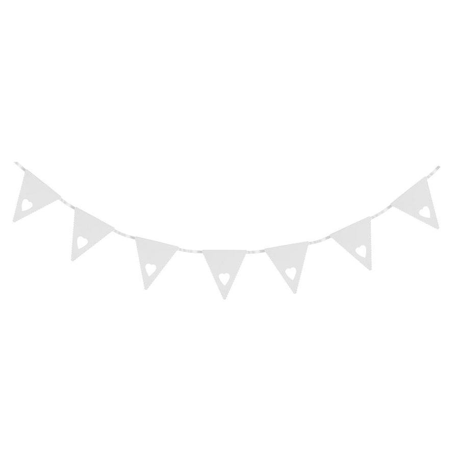 Mini White Heart Bunting