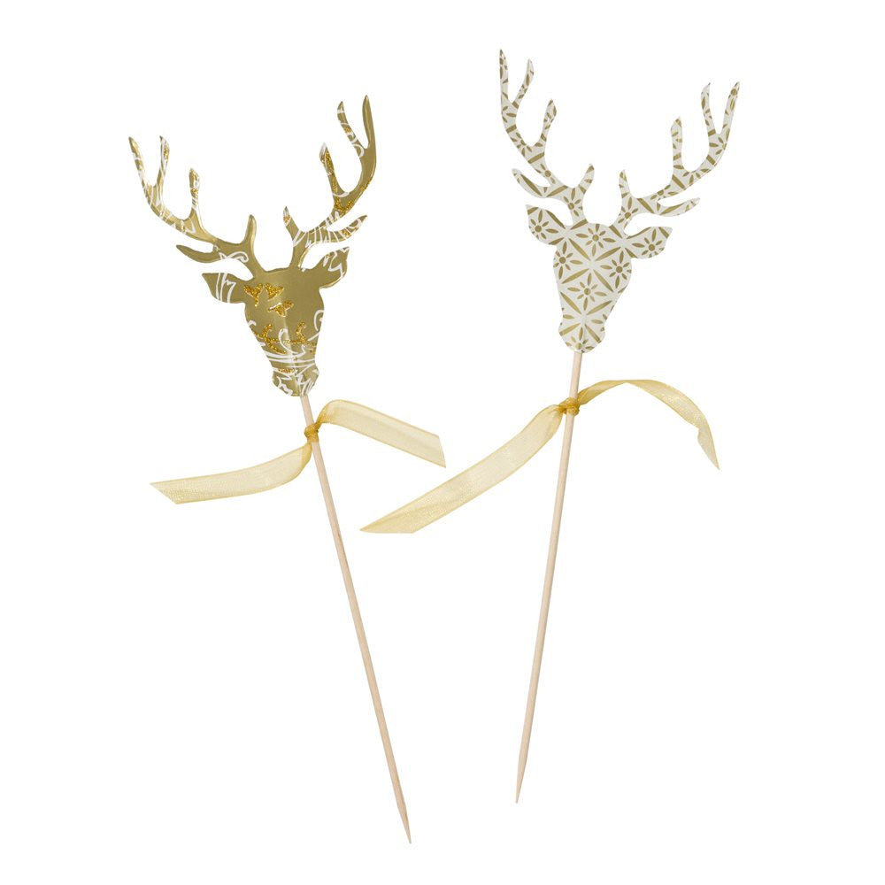 Party Porcelain Gold Stag Canape Picks, TT-Talking Tables, Putti Fine Furnishings
