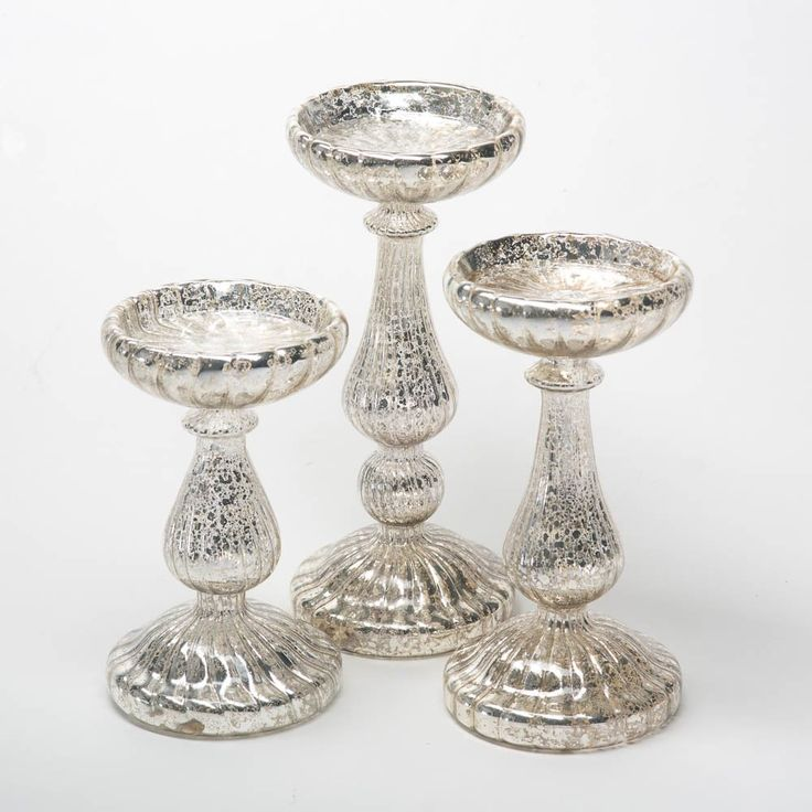 Ribbed Mercury Glass Pillar Candle Holders - Set of 3 - Putti Fine Furnishings
