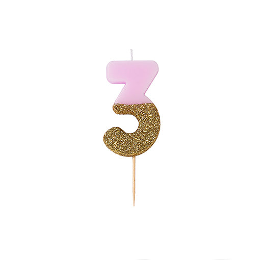 """We Heart Birthdays"" Pink Glitter Number Candle - Three"