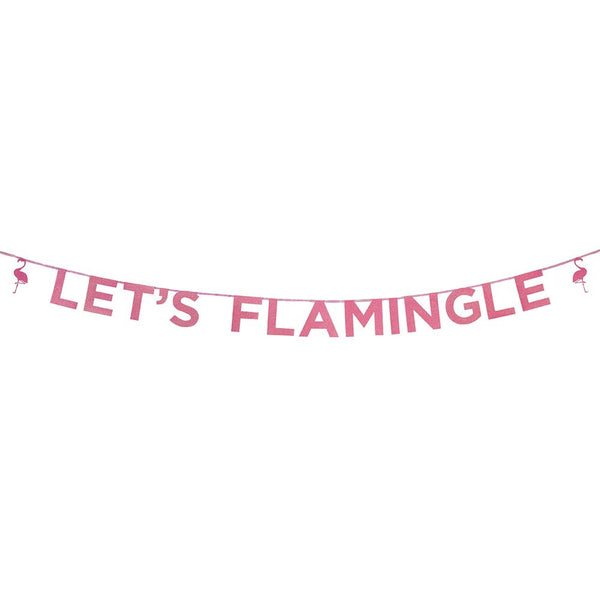"Say It With Glitter ""Let's Flamingle"" Hot Pink Banner"