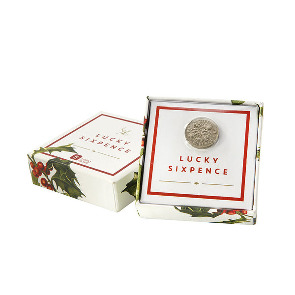 Botanical Christmas Lucky Silver Six Pence-Party Supplies-TT-Talking Tables-Putti Fine Furnishings