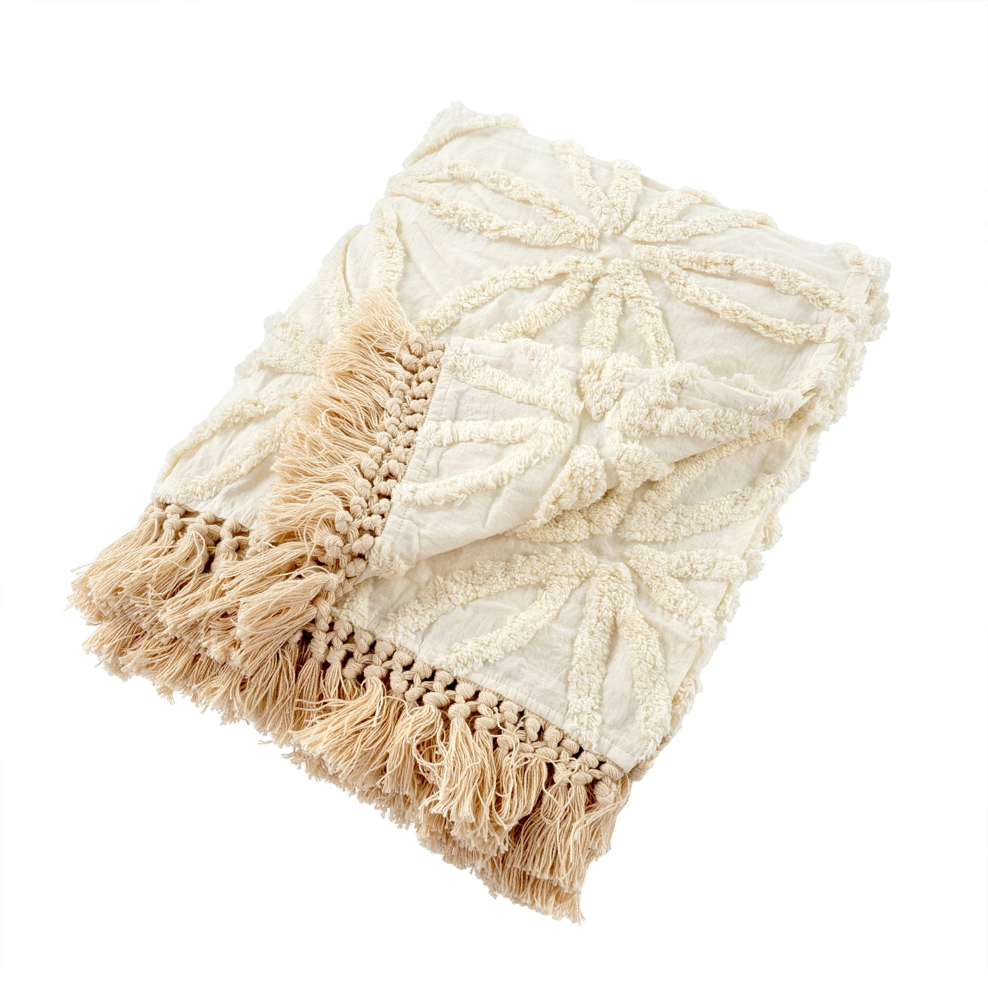 Tufted Chenille LolaThrow - Ivory | Putti Fine Furnishings Canada