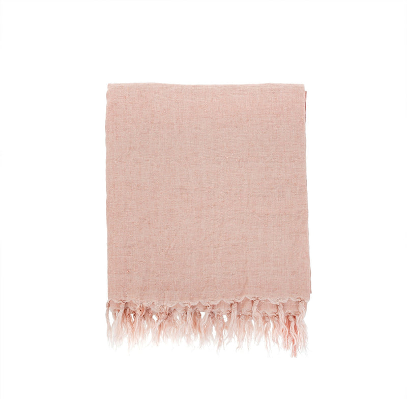 Lina Linen Throw - Peach