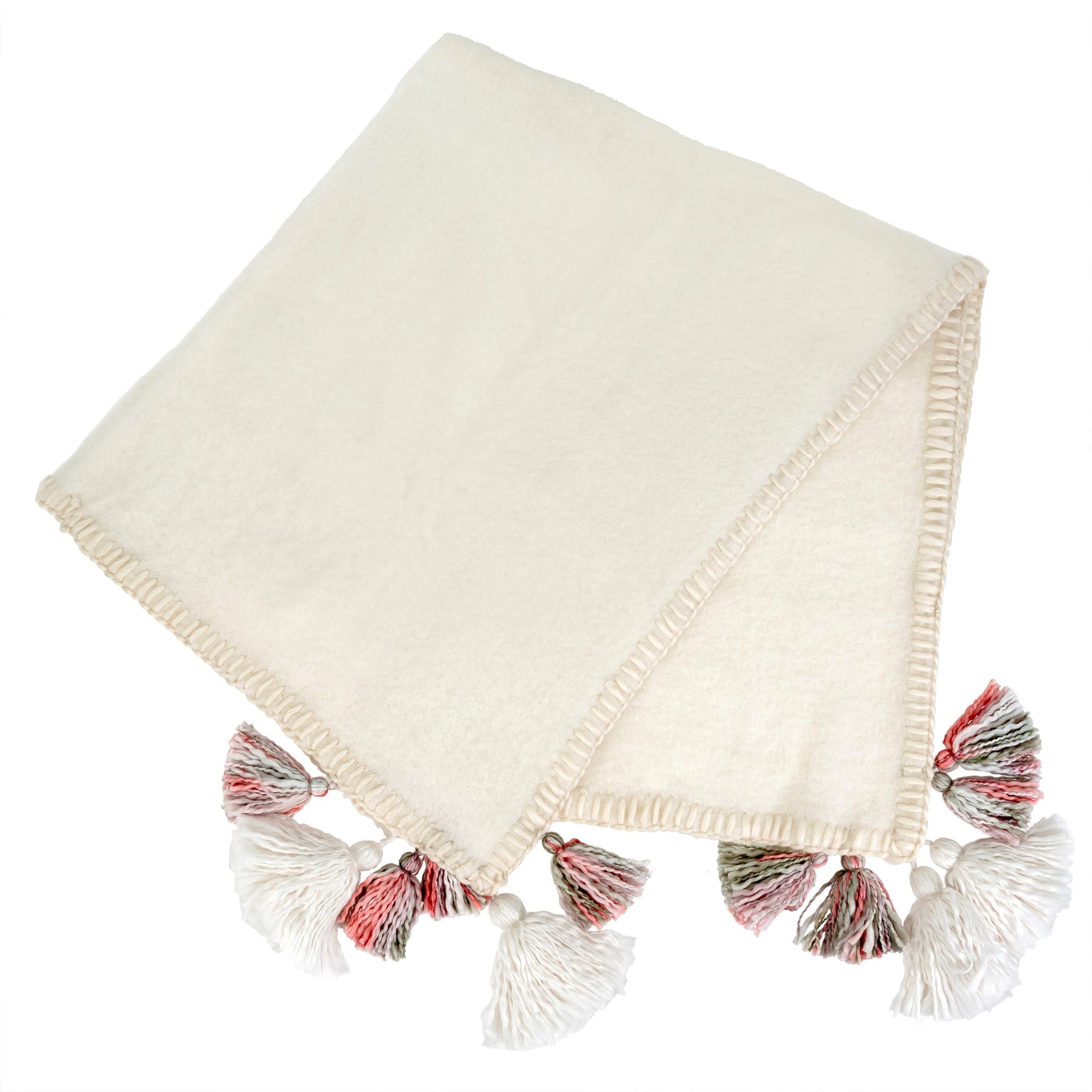 White Tassel Trim Throw