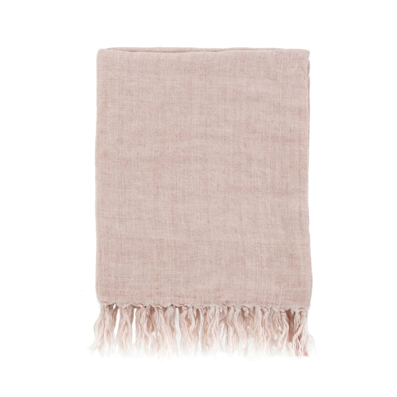 Lina Linen Throw - Dusty Rose | Putti Fine Furnishings Canada