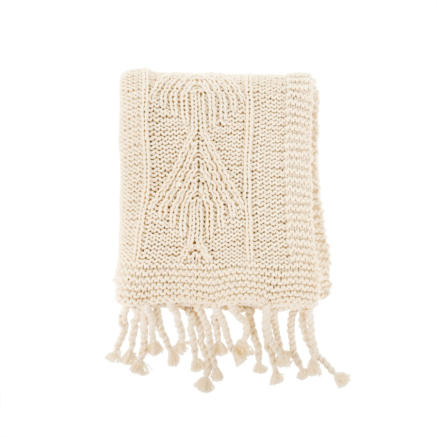 Cotton Knit Throw - Natural