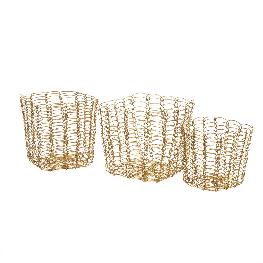 Golden Weave Baskets - Set of Three - Putti Fine Furnishings Canada