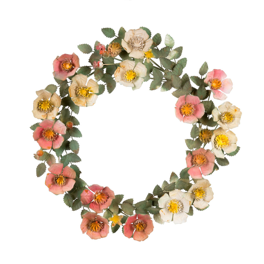 """Wild Rose"" Hand Wrought Painted Wreath"