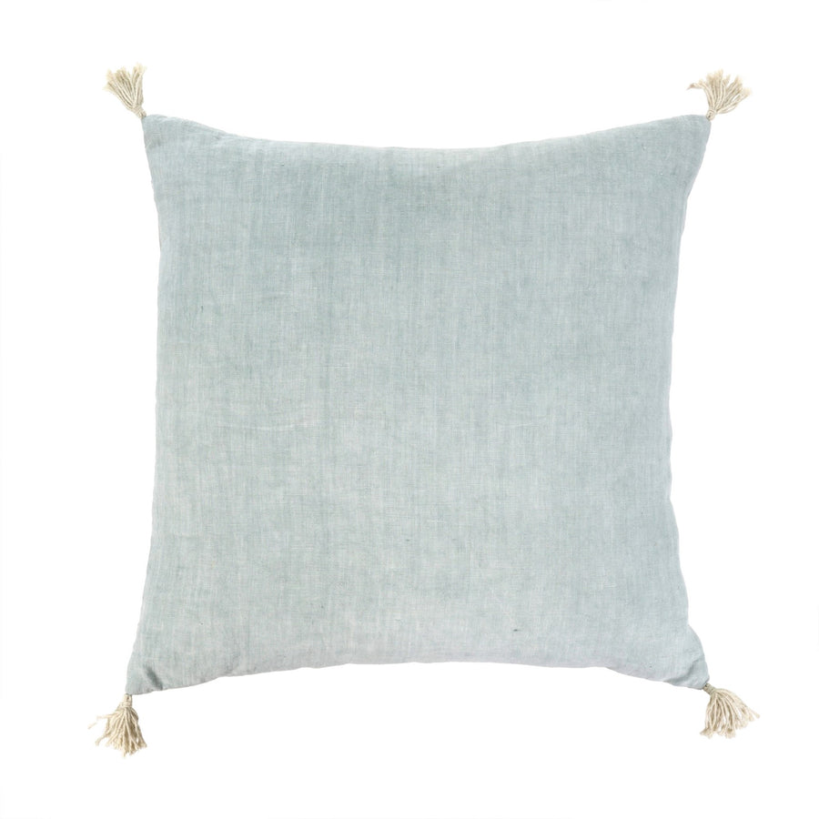 """Nori"" Linen Cushion with Tassels - Sky"