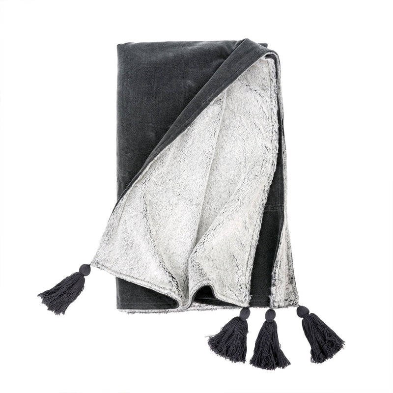 Velvet Tassel Throw - Charcoal