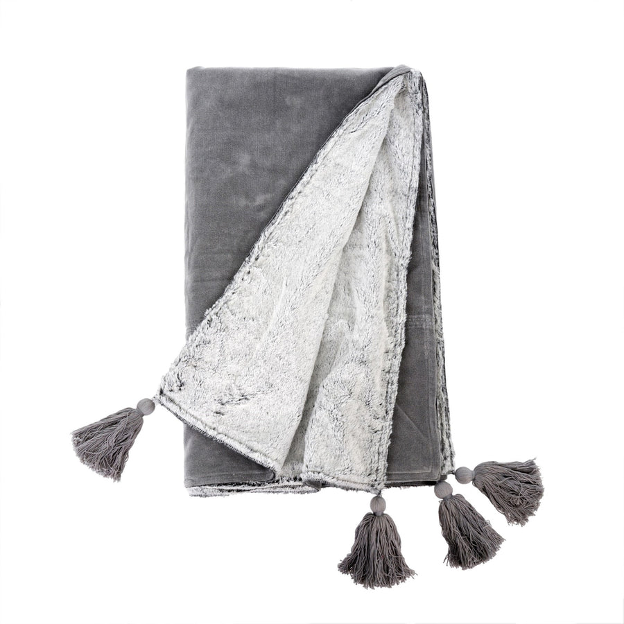 Velvet Tassel Throw  - Grey