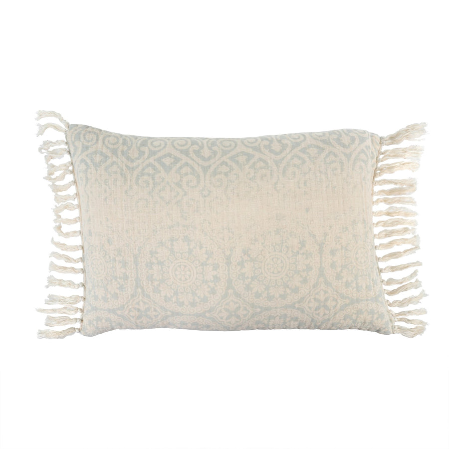 Medallion Linen Cushion - Sky Blue