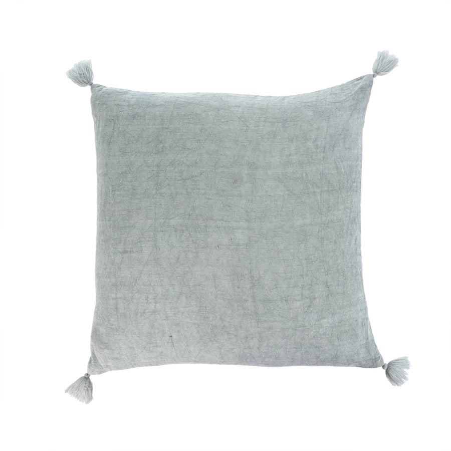 """Nala"" Linen Cushion with Tassels - Sage"