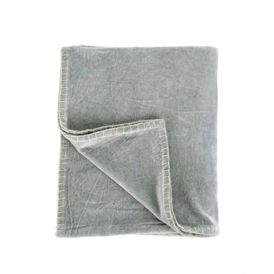 Velvet Blanket Stitch Throw - Grey