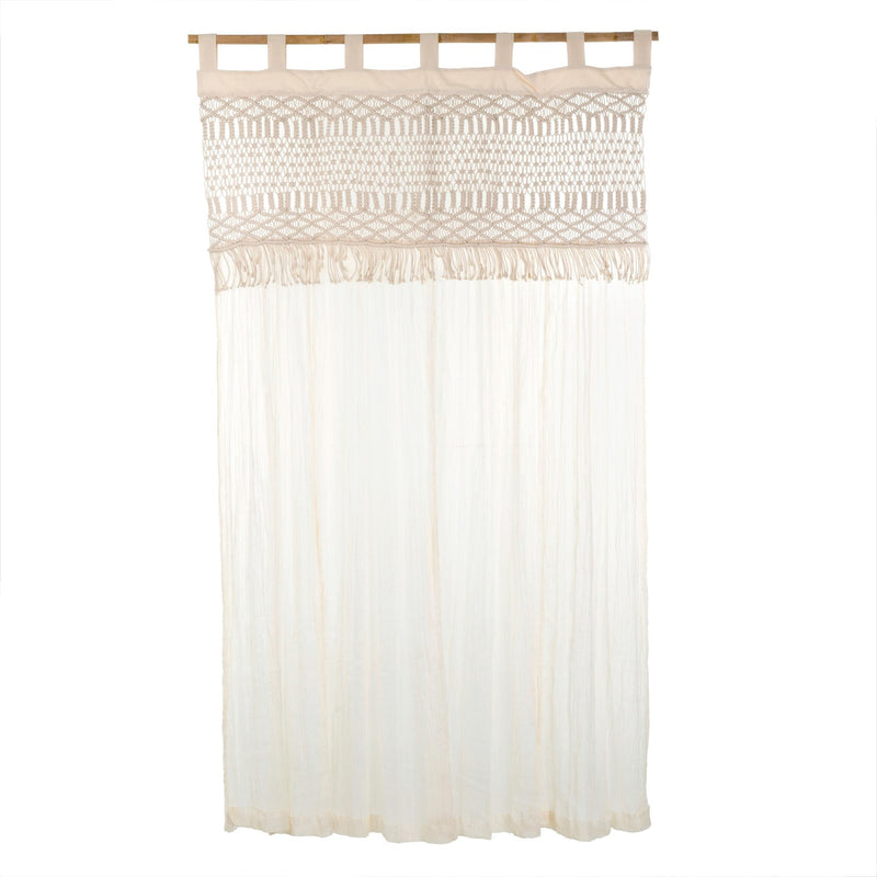 White Macrame Curtain Panel, IT-Indaba Trading, Putti Fine Furnishings