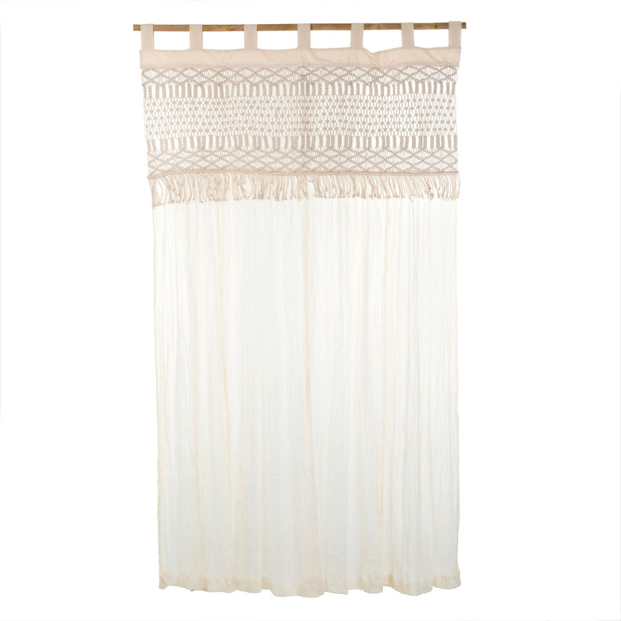 White Macrame Curtain Panel