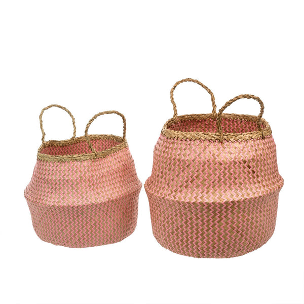 Pink Weave Belly Baskets
