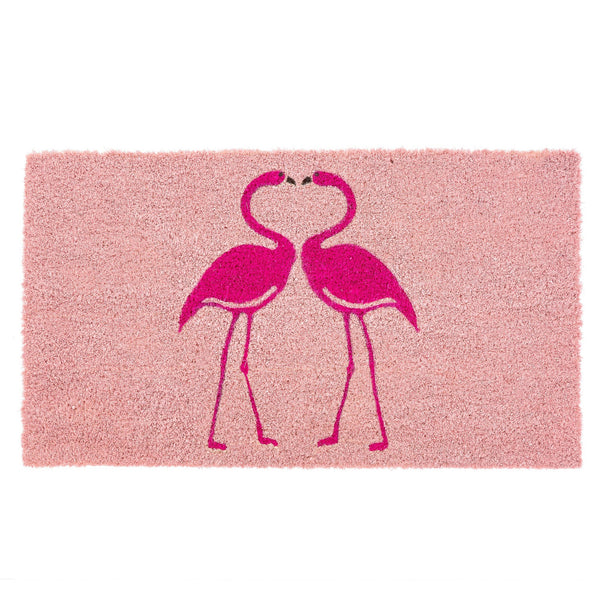 Pink Kissing Flamingo Doormat