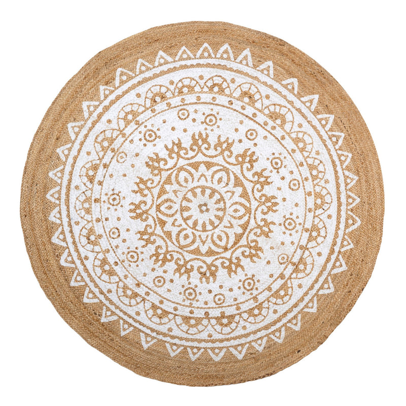 Jute Roundie Rug - White Print -  Soft Furnishings - Indaba Trading - Putti Fine Furnishings Toronto Canada