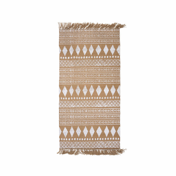Jute Rug White Print-Soft Furnishings-IT-Indaba Trading-Putti Fine Furnishings