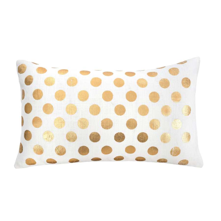 Gold Foil Polka Dot Cushion - Rectangular