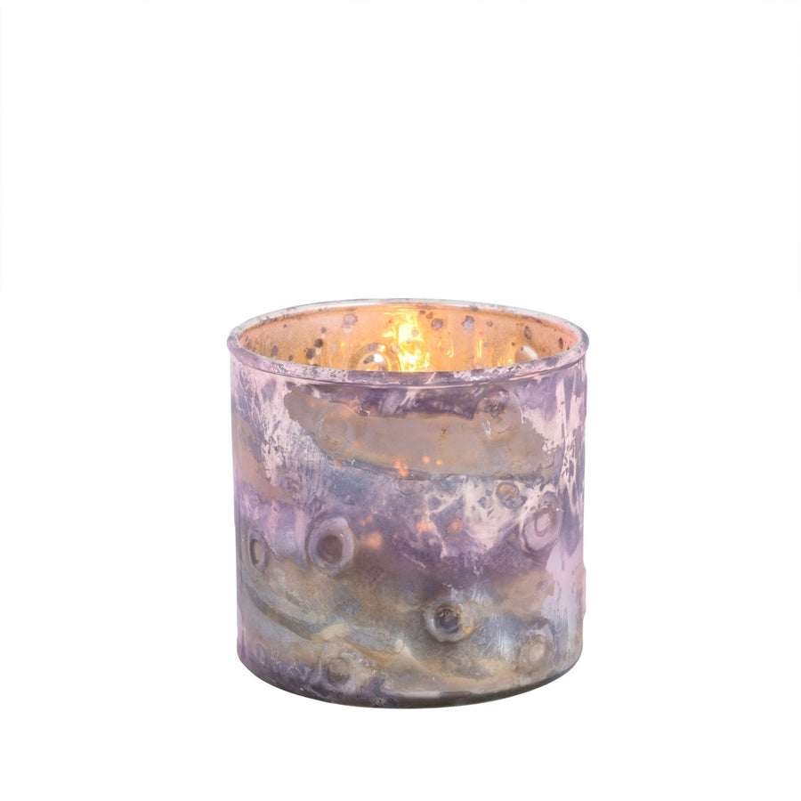 Pink Marbled Glass Votive