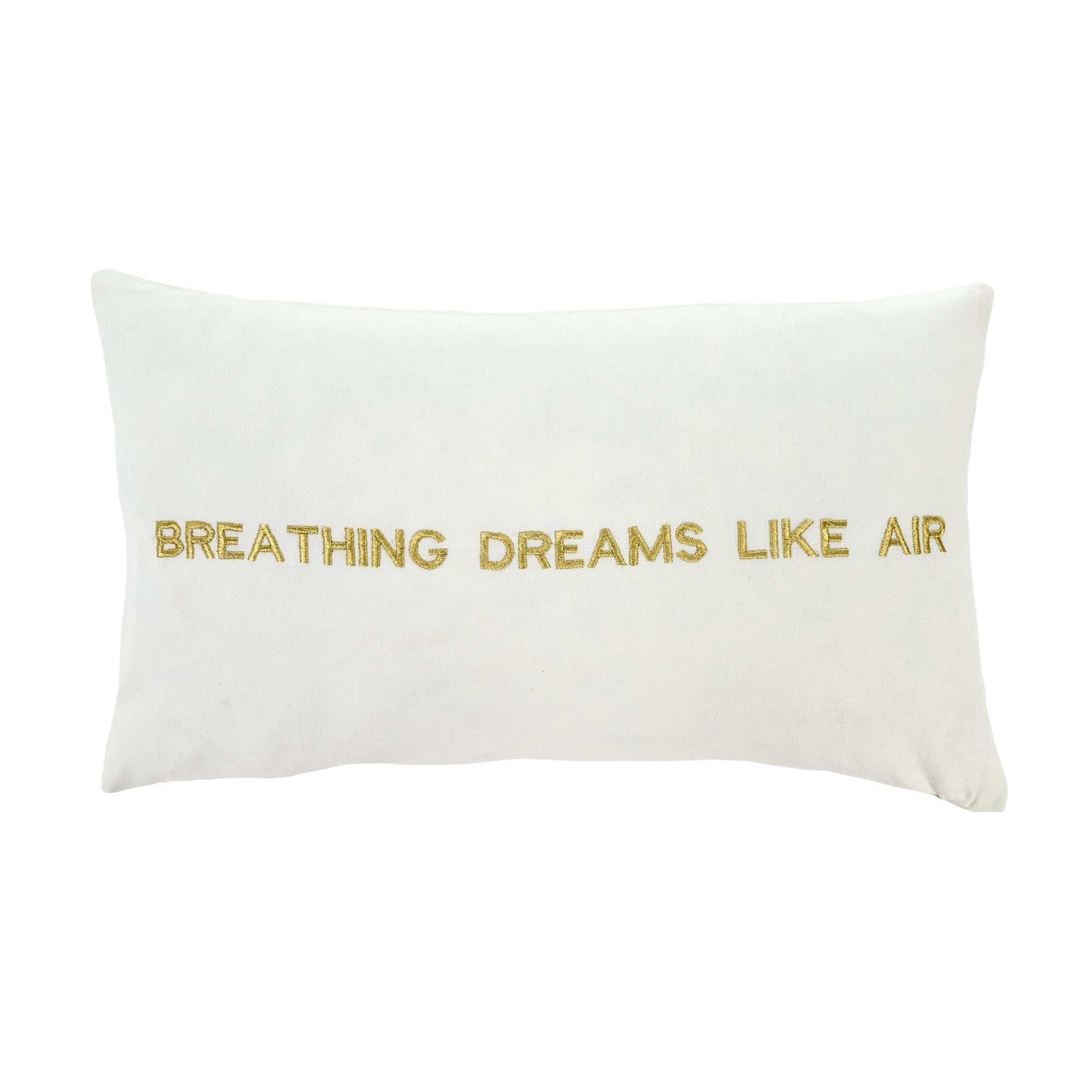 """Breathing dreams like air"" Embroidered Pillow"