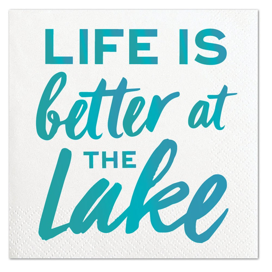 """Life is better at the lake"" Aqua Foil Paper Napkins - Beverage"