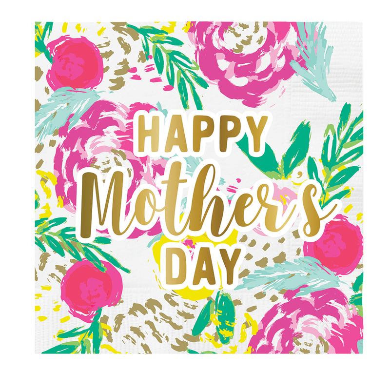 "Slant ""Happy Mother's Day"" Floral Paper Napkins - Beverage 