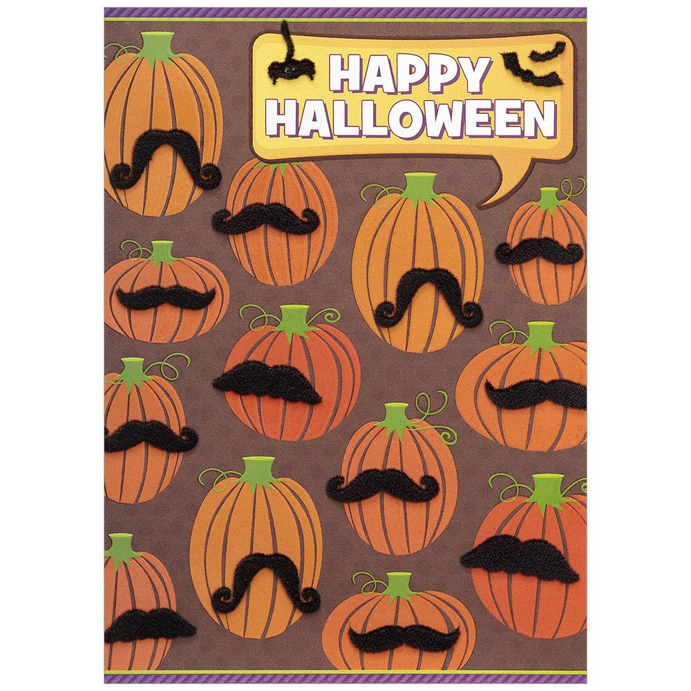 Pumpkin Mustaches Halloween Greeting Card, DD-Design Design Greeting Cards, Putti Fine Furnishings
