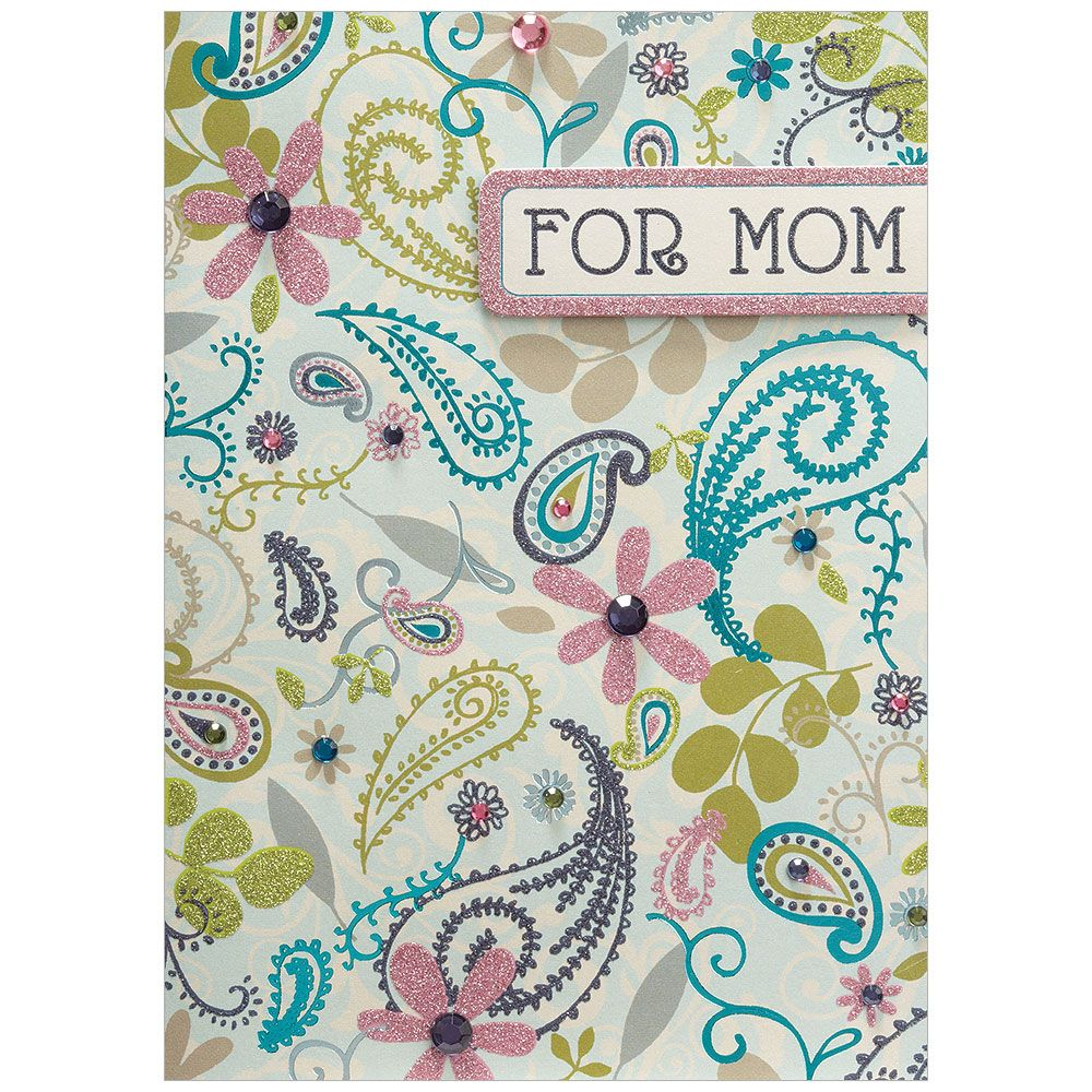 "Floral Print ""For Mom"" Mother's Day Card, Bella Flor, Putti Fine Furnishings"