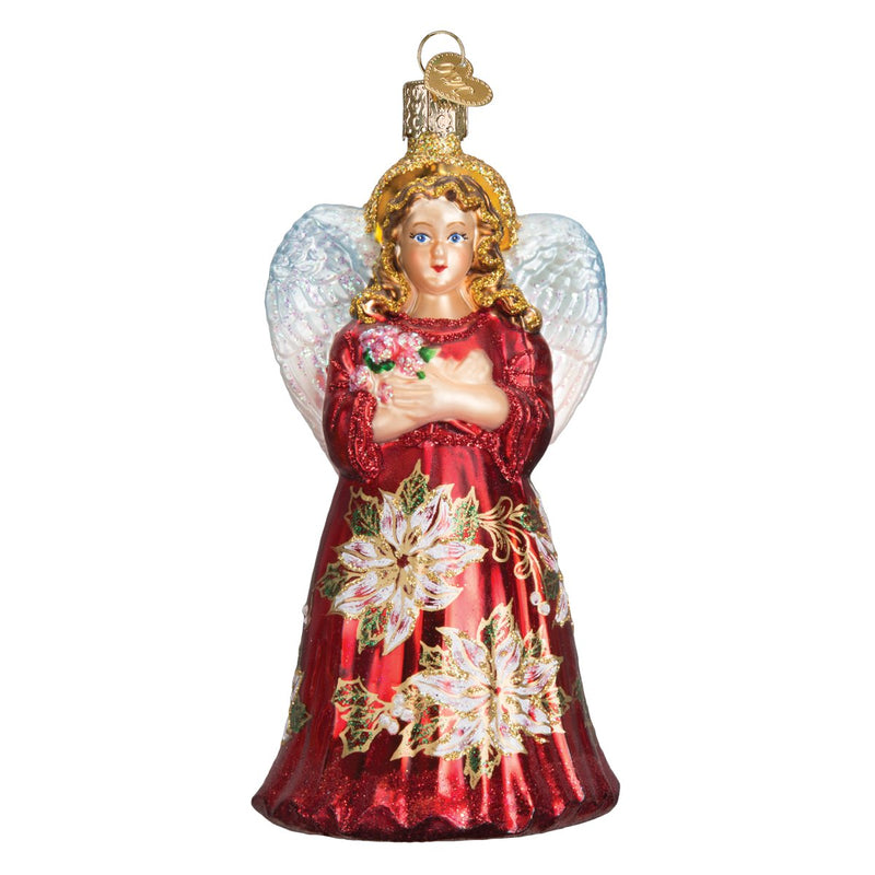 Old World Christmas Red Poinsettia Angel Ornament | Putti Christmas