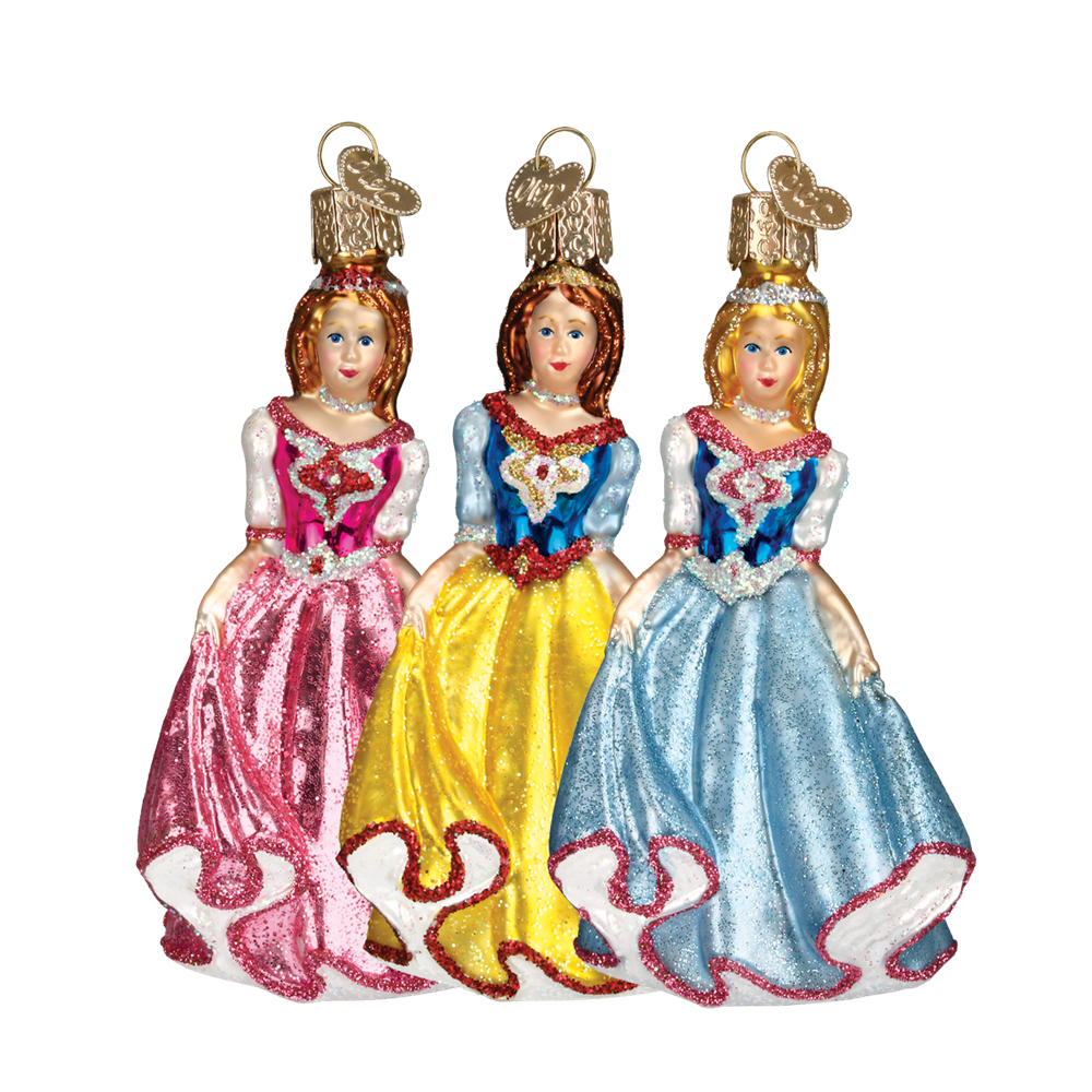 Old Word Christmas Princess Glass Ornament