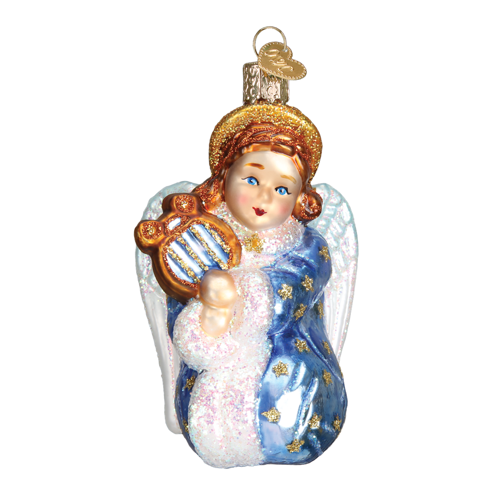 Old Word Christmas Starry Little Angel Glass Ornament, OWC-Old World Christmas, Putti Fine Furnishings