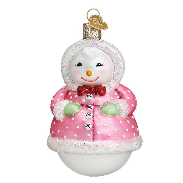 Old Word Christmas Jolly Snowlady Glass Ornament | Putti Canada