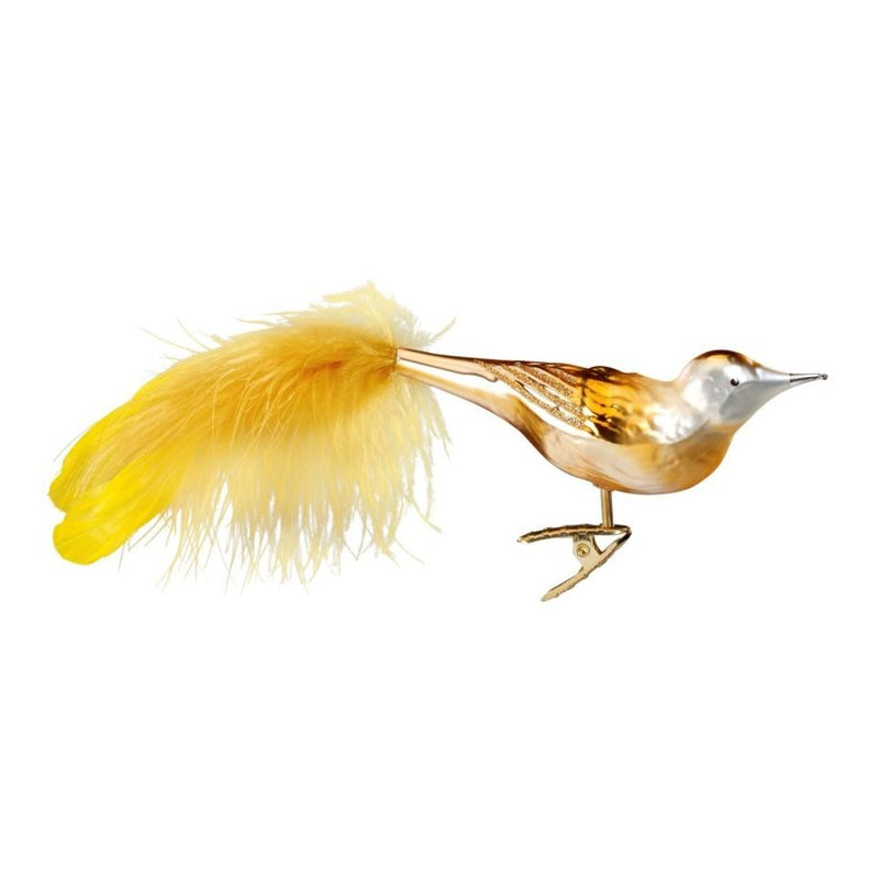 "Inge Glas ""Golden Bird"" Glass Bird Christmas Ornament 