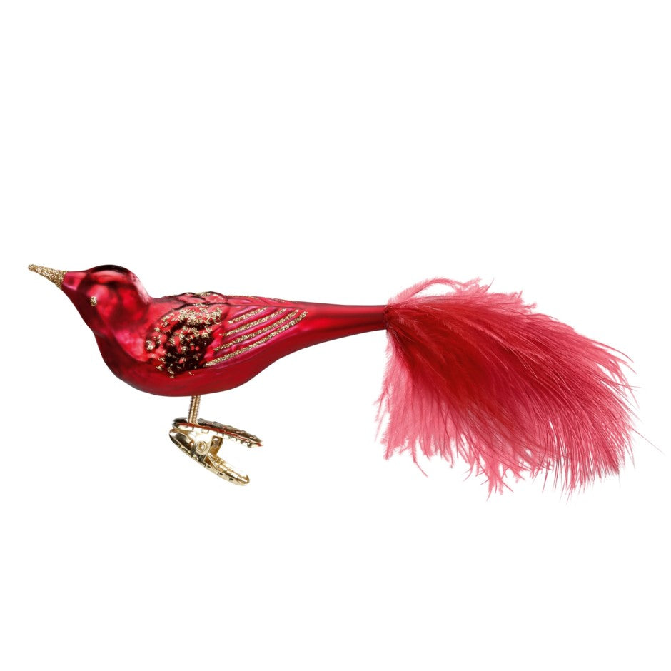 "Inge Glas ""Festive"" Oxblood Red Glass Bird Ornament 