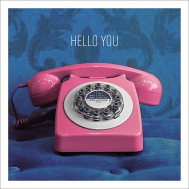 Hello You Pink Telephone Greeting Card