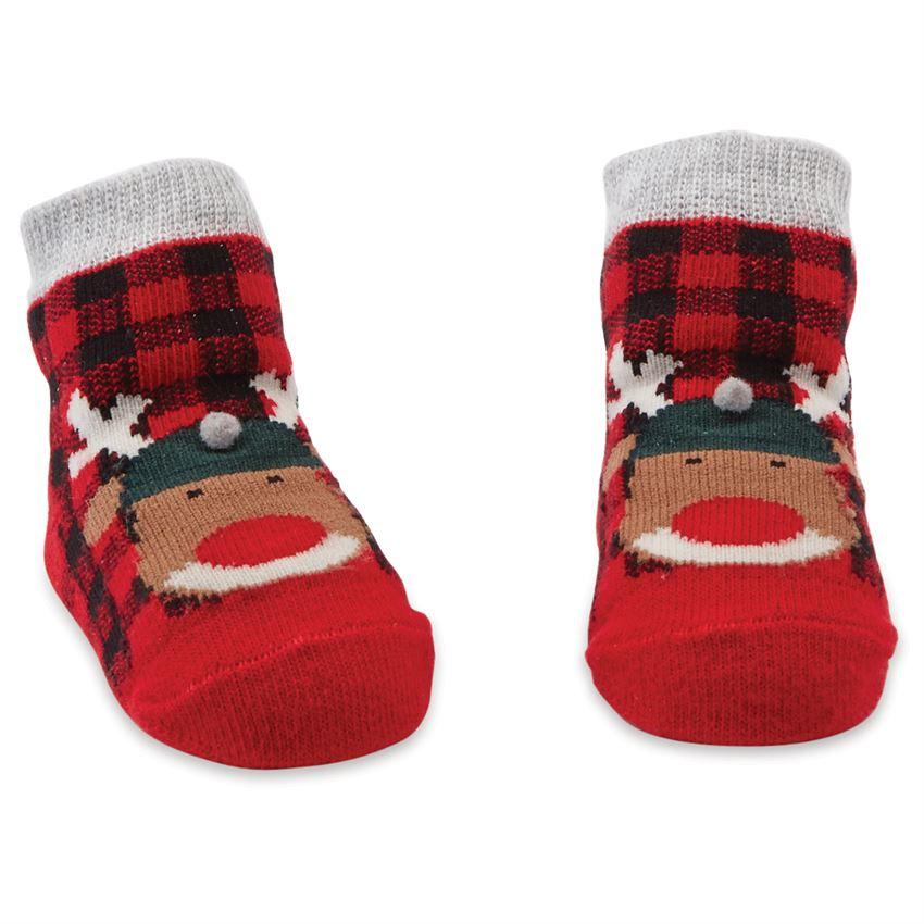 Mud Pie Buffalo Check Reindeer Socks